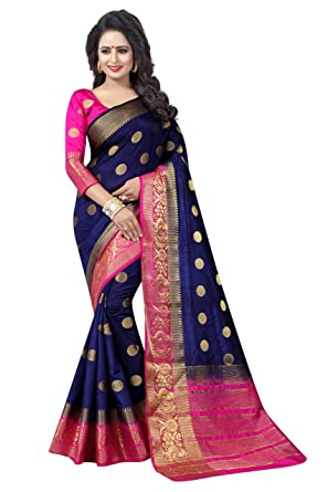 9311b3b388a SAARAH Art Silk Saree with Blouse Piece (EMP3979DB Blue Free Size)   Amazon.in  Clothing   Accessories