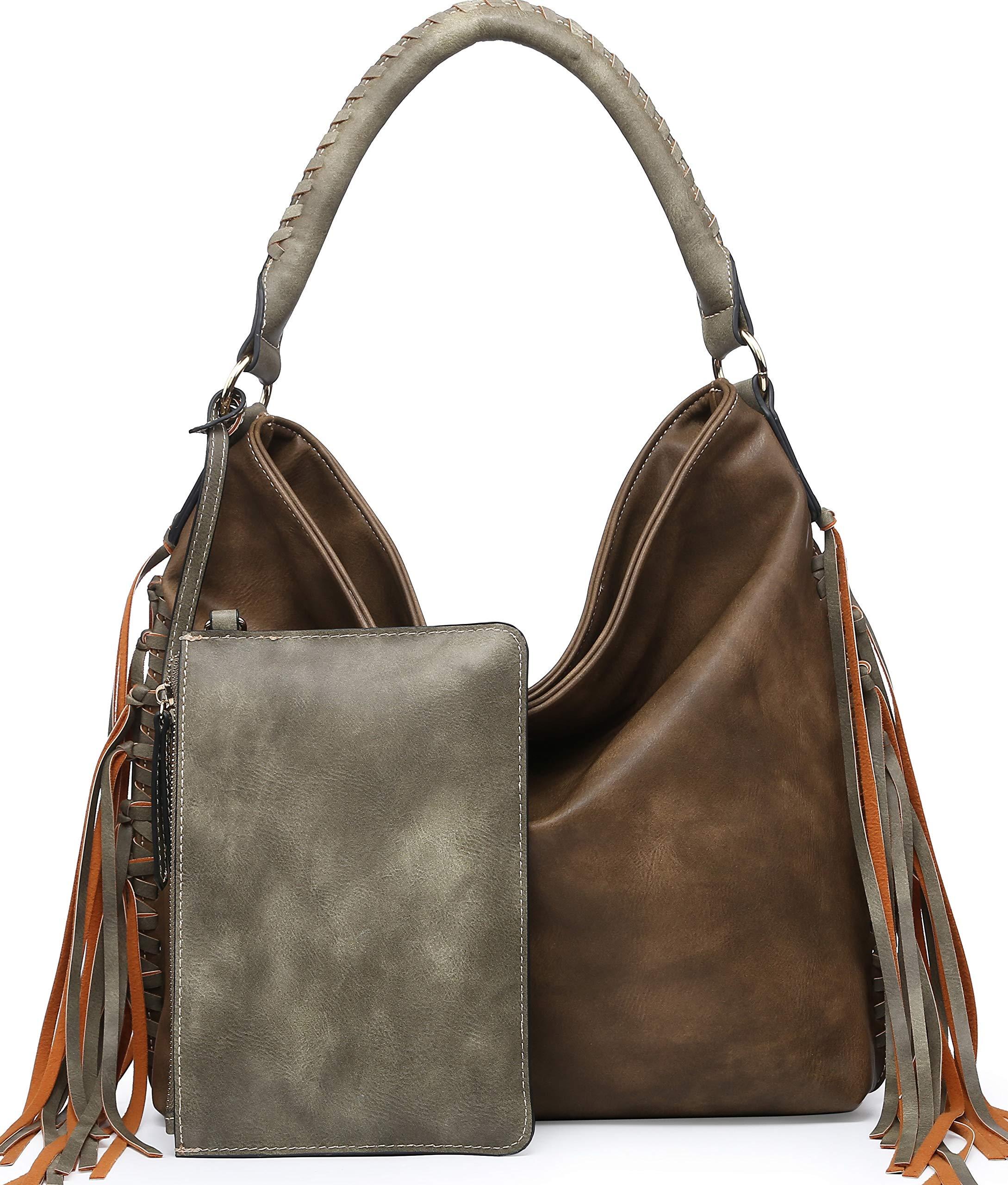 SHOMICO Hobo Bag for Women Boho Purses and Handbags Fringe Bags Taupe Brown Large Big Oversize (Neutral khaki)