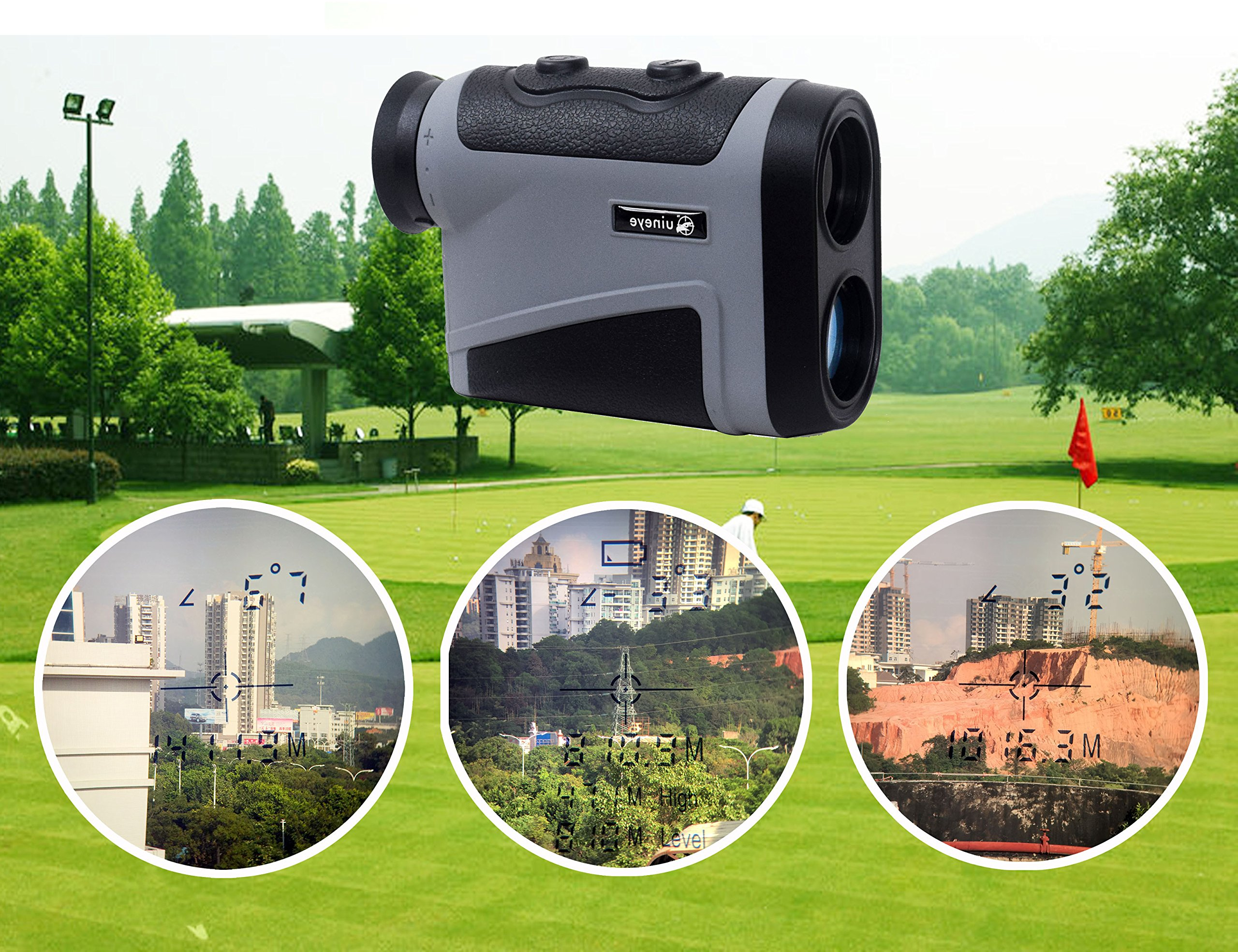Uineye Golf Rangefinder - Range : 5-1950 Yards, 0.33 Yard Accuracy, Laser Rangefinder with Height, Angle, Horizontal Distance Measurement Perfect for Hunting, Golf, Engineering Survey (Grey) by Uineye (Image #7)