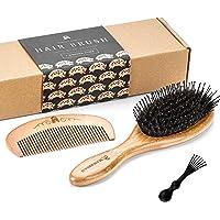 Brosse à Cheveux Bambou en Poils de Sanglier Avec Tiges Démêlantes. Excellentes Pour Démêler les Cheveux, les Tiges Dirigent les Cheveux vers les Poils de Sanglier pour les Rendre Brillants et Soyeux