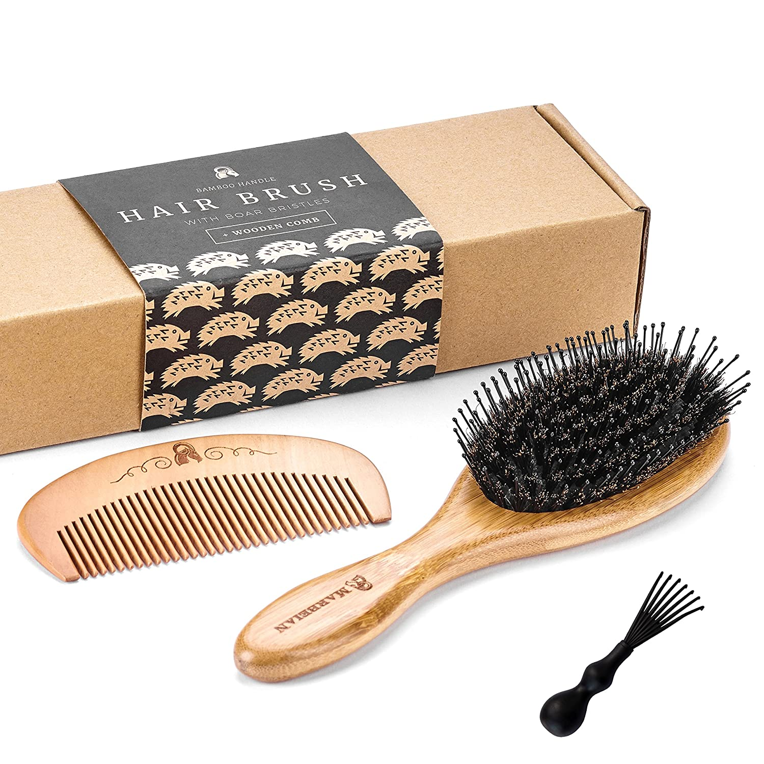 Boar Bristle Hair Brush with Detangle Pins. Makes Hair Shiny and Silky. Comes With a Wooden Comb Marbeian