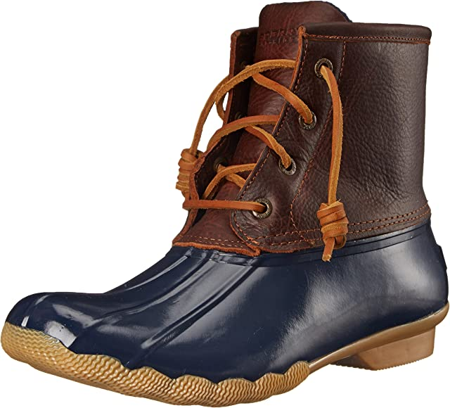 Women's in Tan//Navy Leather//Rubber NEW Sperry Top-Sider Saltwater Duck Boots