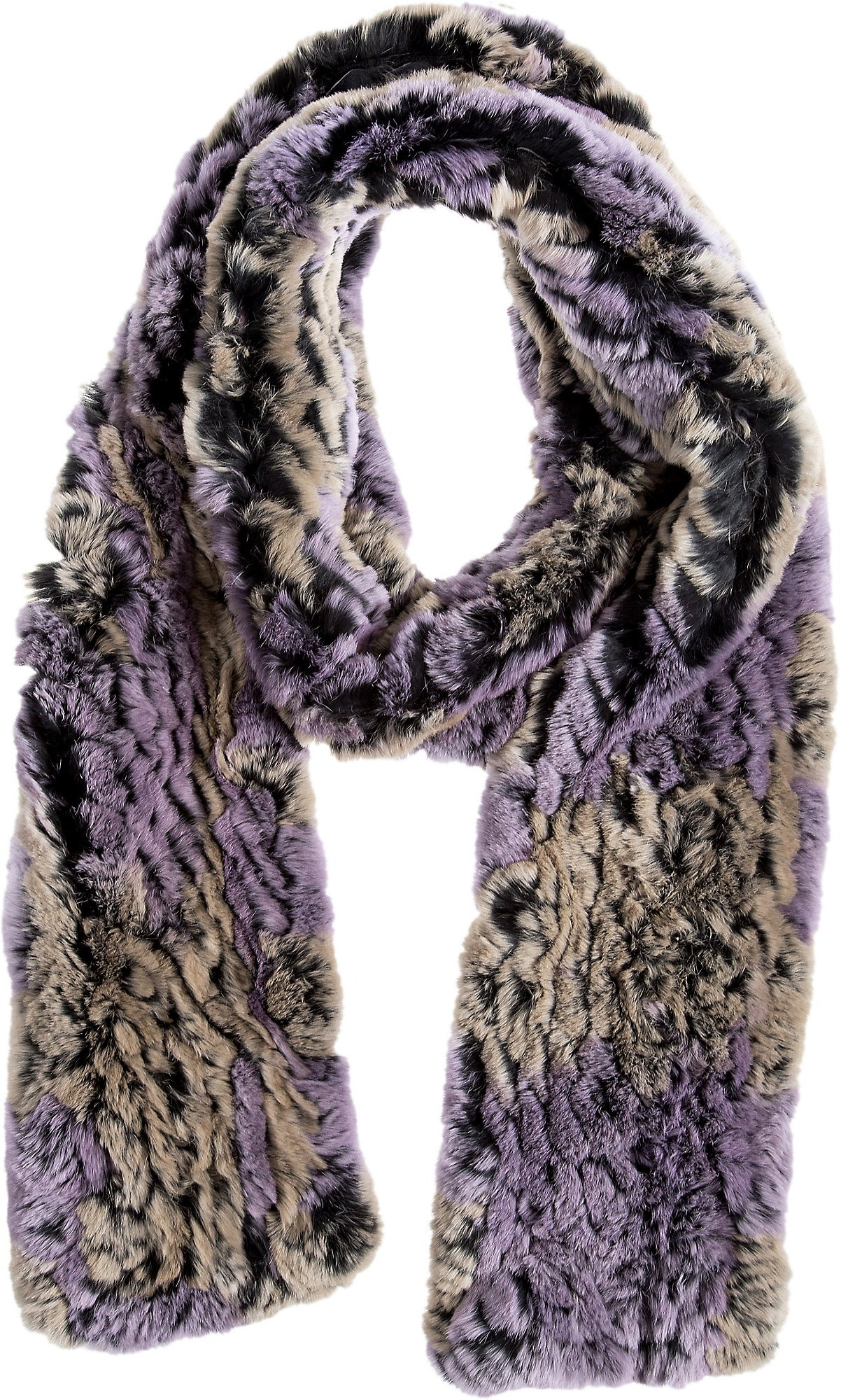 Lilac and Taupe Knitted Rex Rabbit Fur Scarf