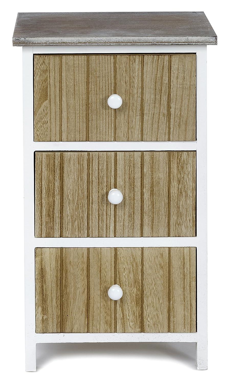 ts-ideen Design Cassettiera Armadio Legno naturale e bianco Scaffale murale con tre cassetti