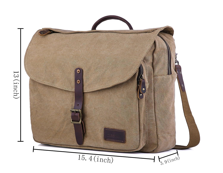 dacfd73e7ce Amazon.com   Gootium Canvas Messenger Bag - British Style Shoulder Bag, Fit  15.6-Inch Laptop Satchel, Coffee   Messenger Bags .
