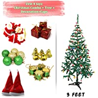 Zest 4 Toyz 3 Feet Christmas Tree with 2 Santa Cap & 100 Pcs Tree Decoration Set for Christmas Home Decor (Balls, Bells, Gifts, Drums, Candy Sticks & Santa Claus)