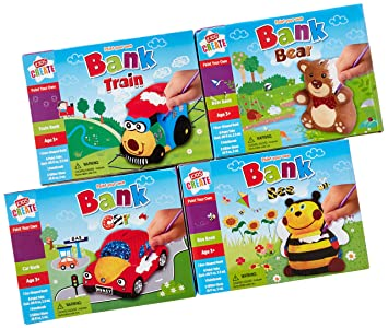 Kids Create Craft Kits For Toy Banks Set Of 4 Bee Bear Train