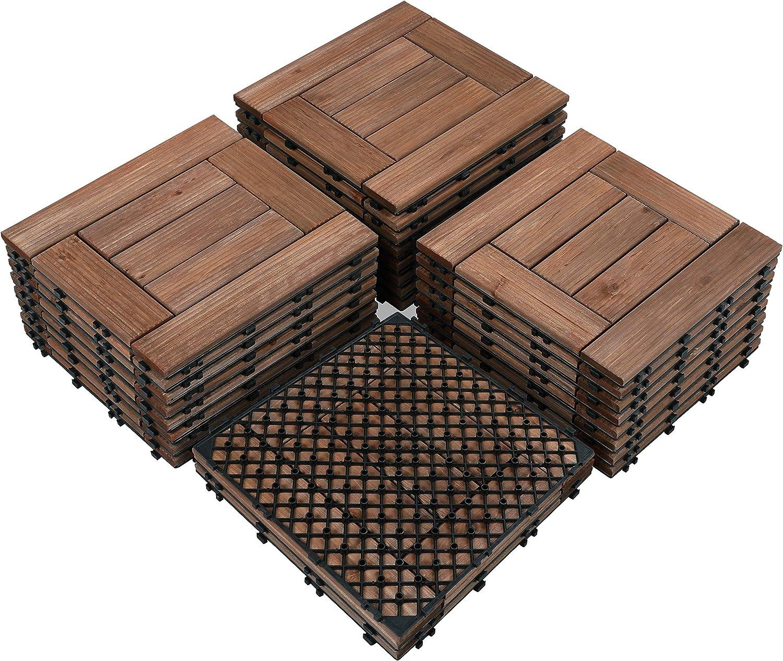 Yaheetech Wood Flooring Decking Deck Tiles