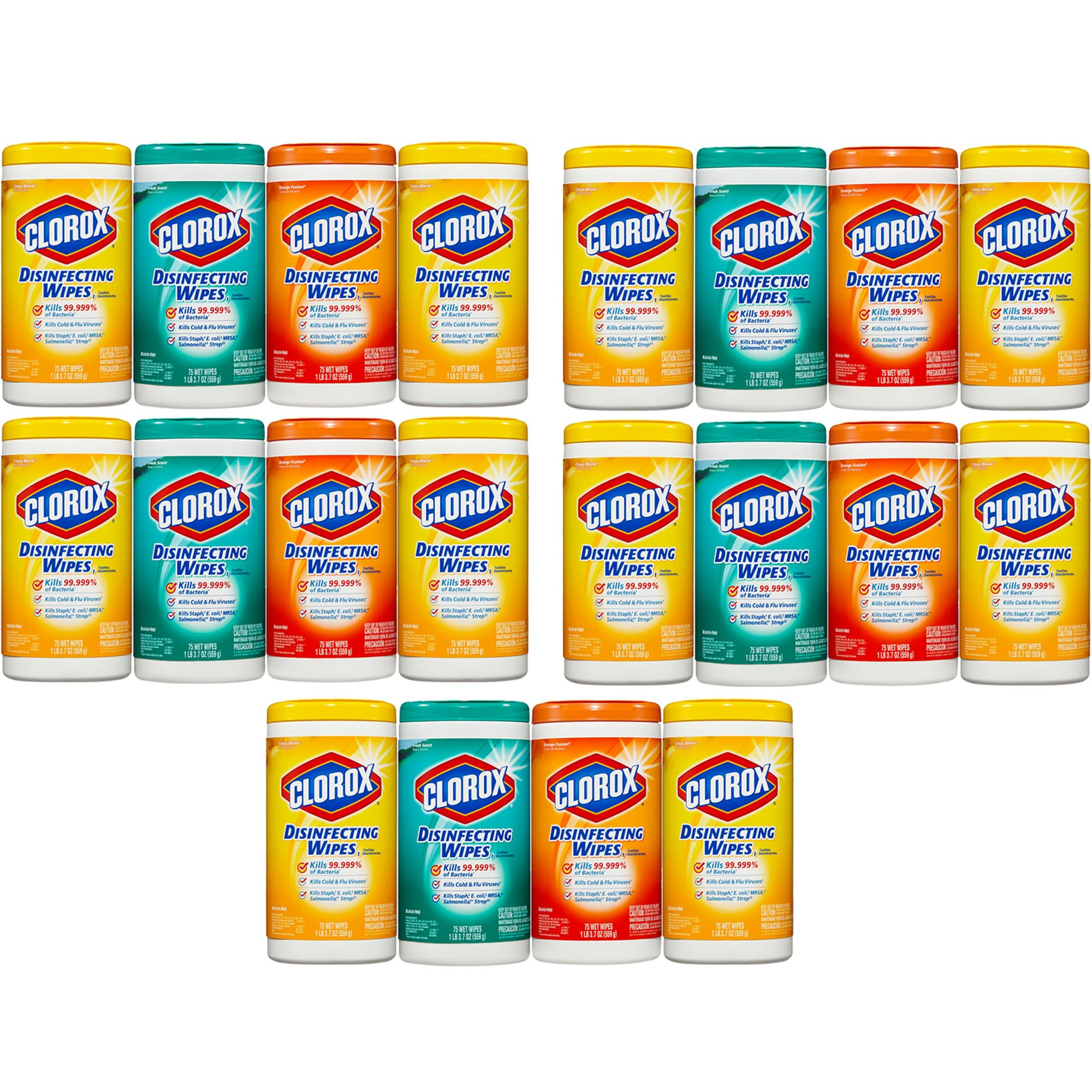 Clorox Disinfecting Cleaning Wipes Value Pack, Crisp Lemon Scent, Fresh Scent and Orange Fusion Scent, 75 Wipes each, 5-Pack (20ct)