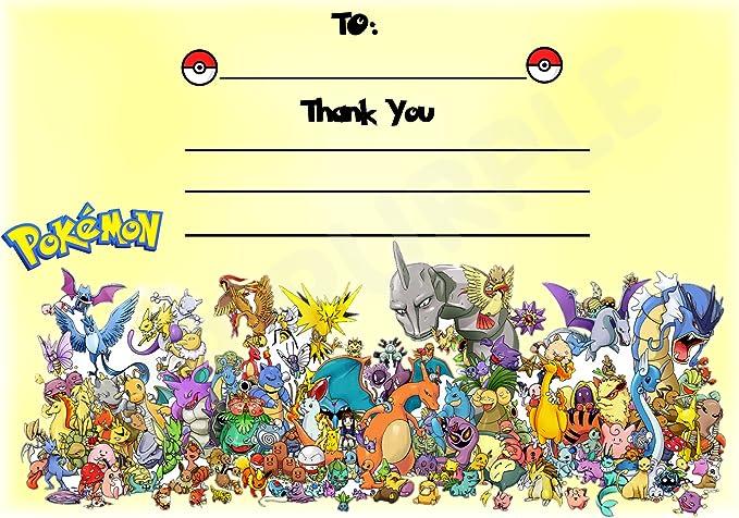 Pokemon gracias por venir fiesta de cumpleaños tarjetas – Diseño de paisaje – fiesta suministros/accesorios (Pack de 12 A6 tarjetas de agradecimiento) WITHOUT Envelopes: Amazon.es: Oficina y papelería
