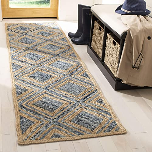 Safavieh Cape Cod Collection CAP354A Hand Woven Flatweave Diamond Geometric Natural and Blue Jute Area Rug 2 x 3