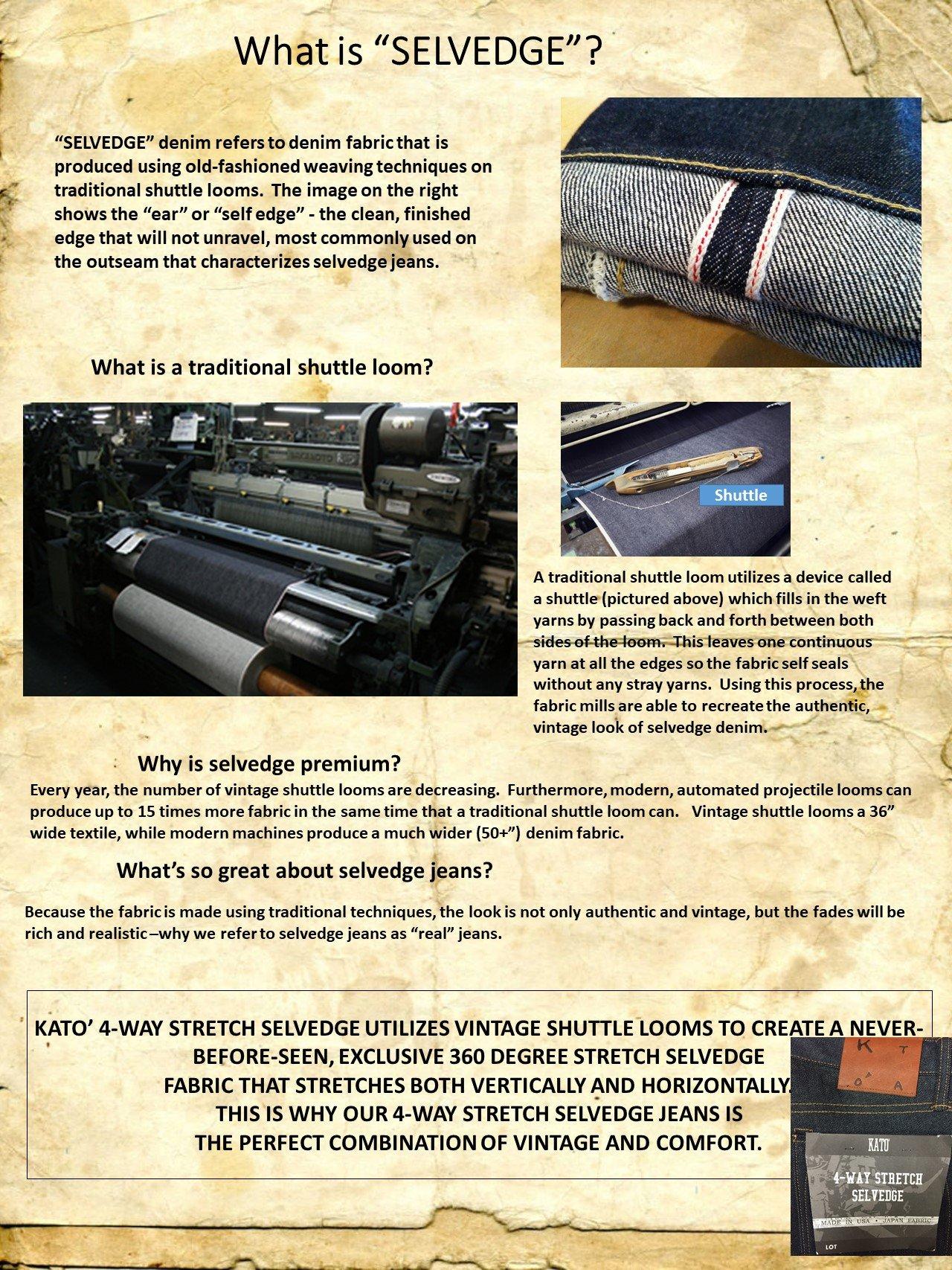 HIROSHI KATO Jeans Men's The Needle Skinny Raw Black 10.5 Oz 4-Way Stretch Selvedge Denim Skinny Fits Made In USA Raw Black 36 by HIROSHI KATO (Image #5)