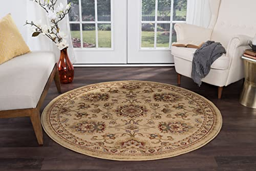 Charlotte Traditional Oriental Ivory Round Area Rug, 5 Round