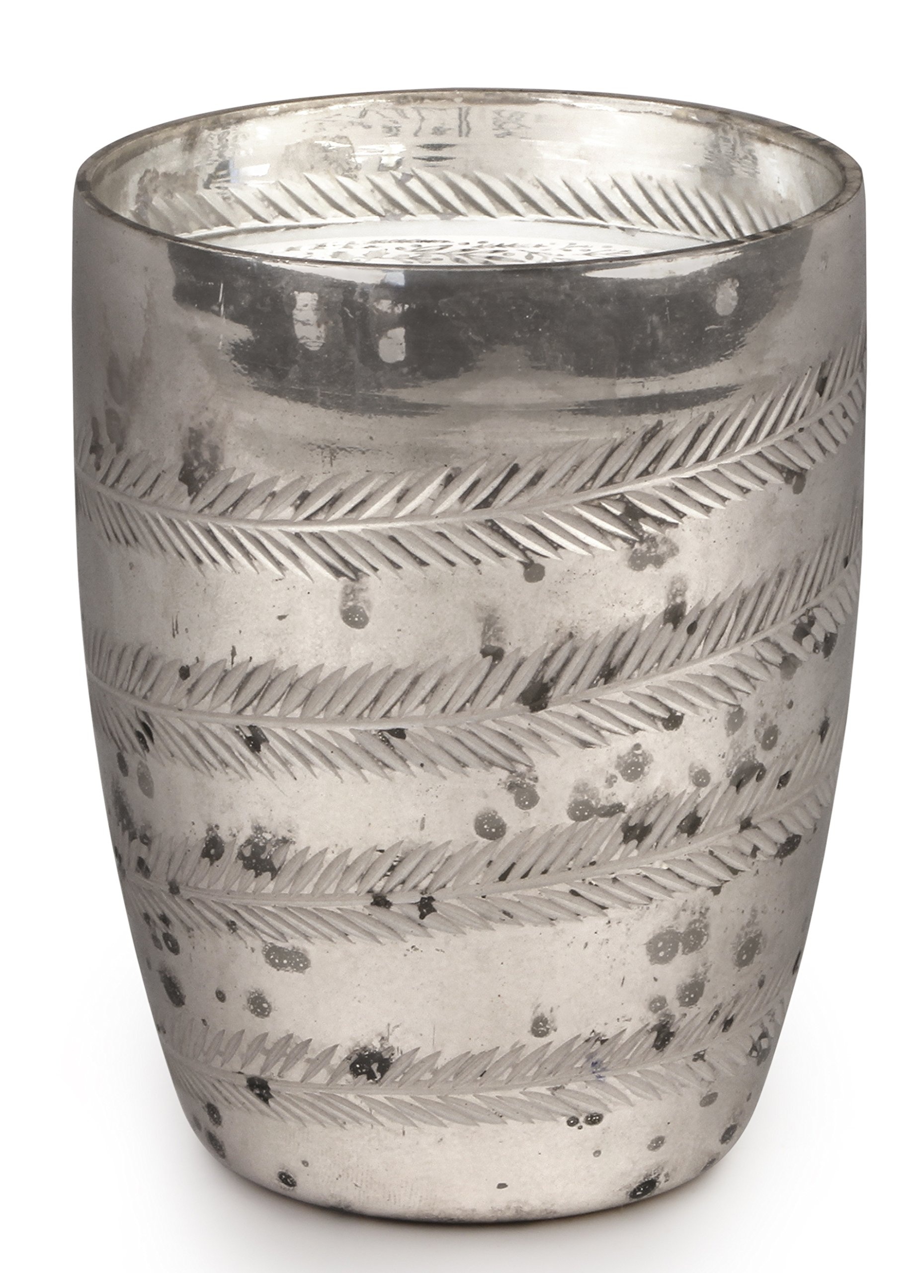 Paddywax Soy Wax Candle in Etched Silver Mercury Glass, 10-Ounce, Peppermint & Vanilla
