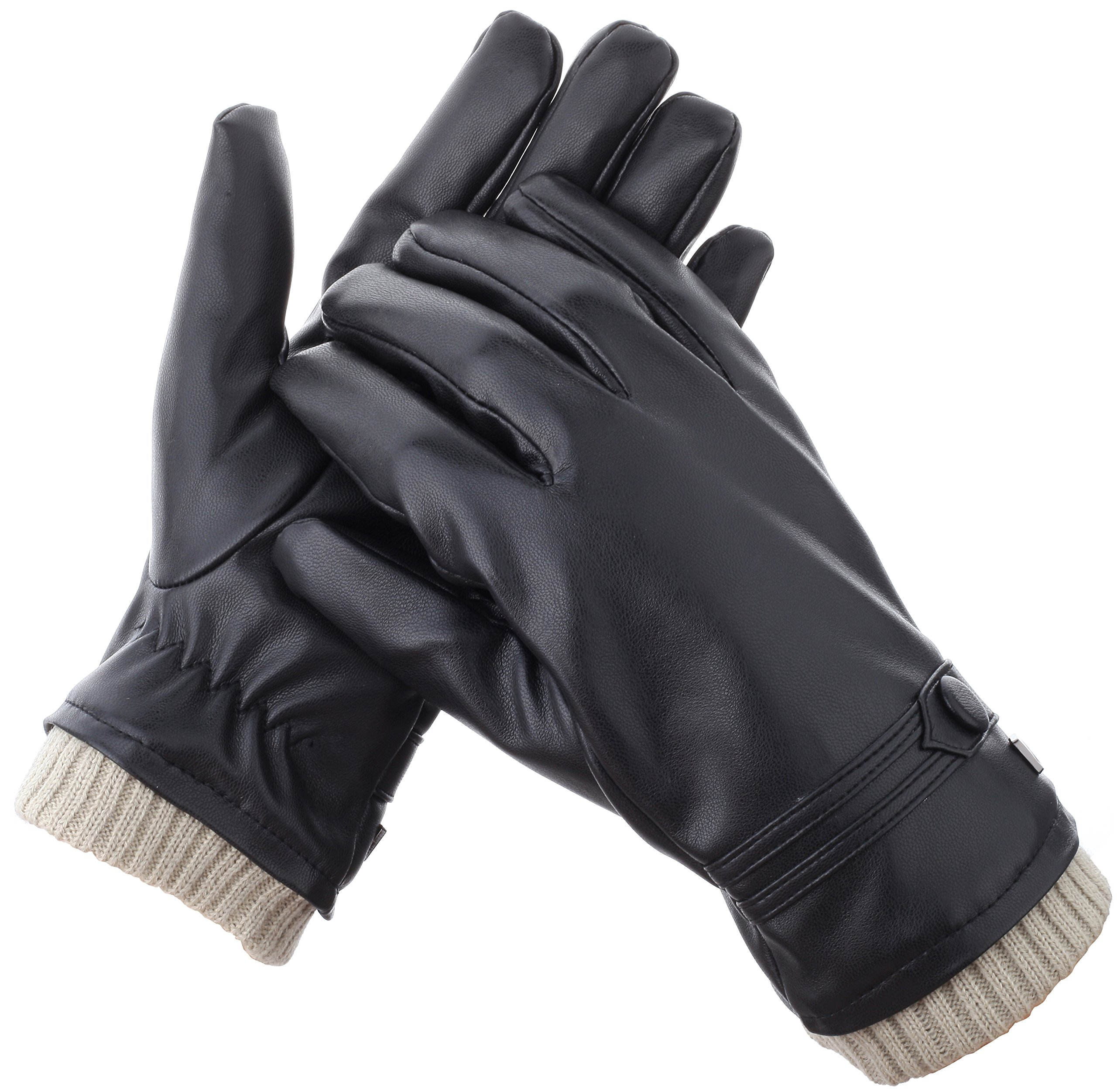 Gallery Seven Mens Faux Leather Warm Winter Gloves - Touch Screen Texting Glove - Gift Wrapped - Black Fine Button Style - Small by Gallery Seven (Image #2)