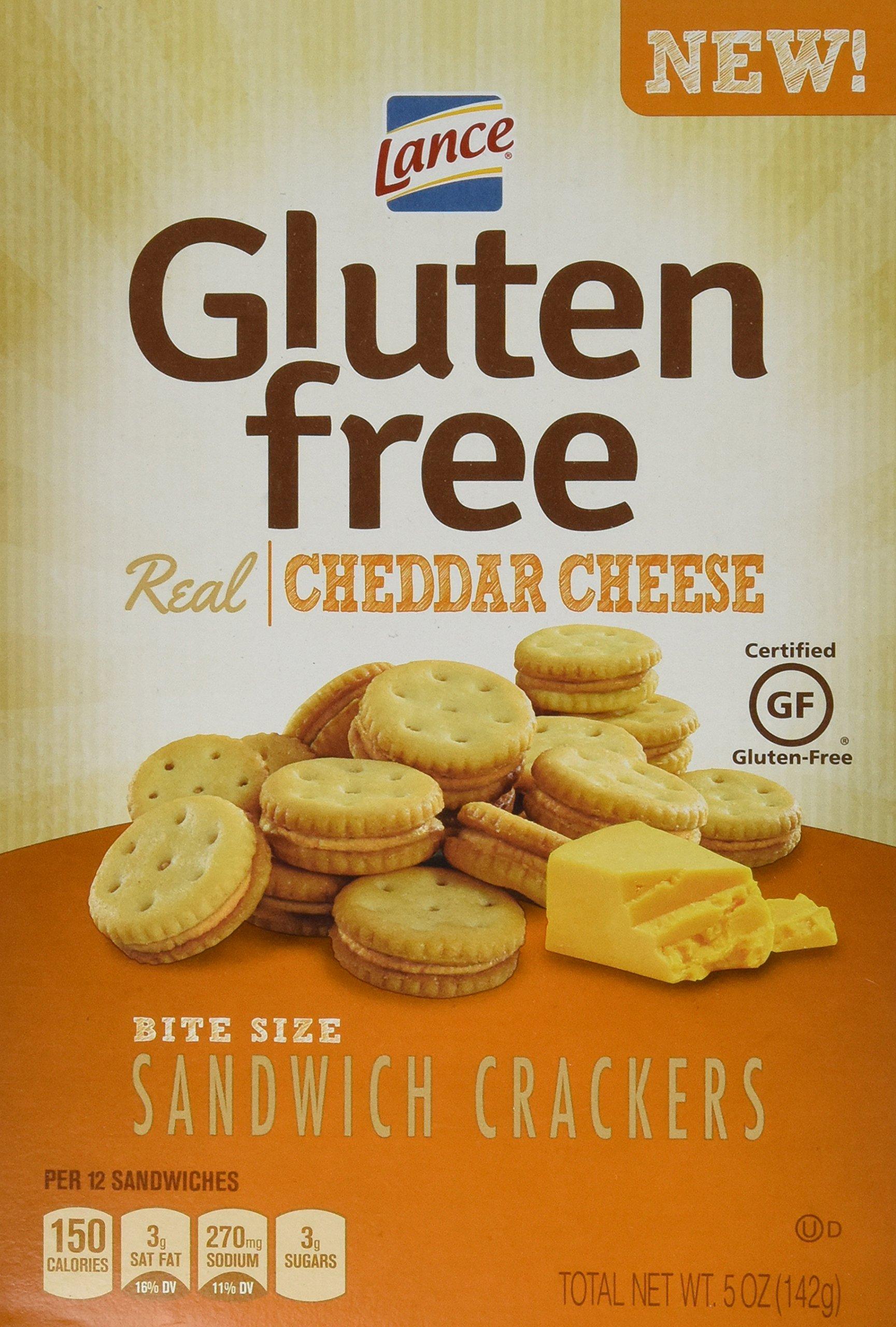 Lance Gluten Free Cheddar Bite Sized Sandwich Snack Crackers 5 Oz Box [4 Pack]
