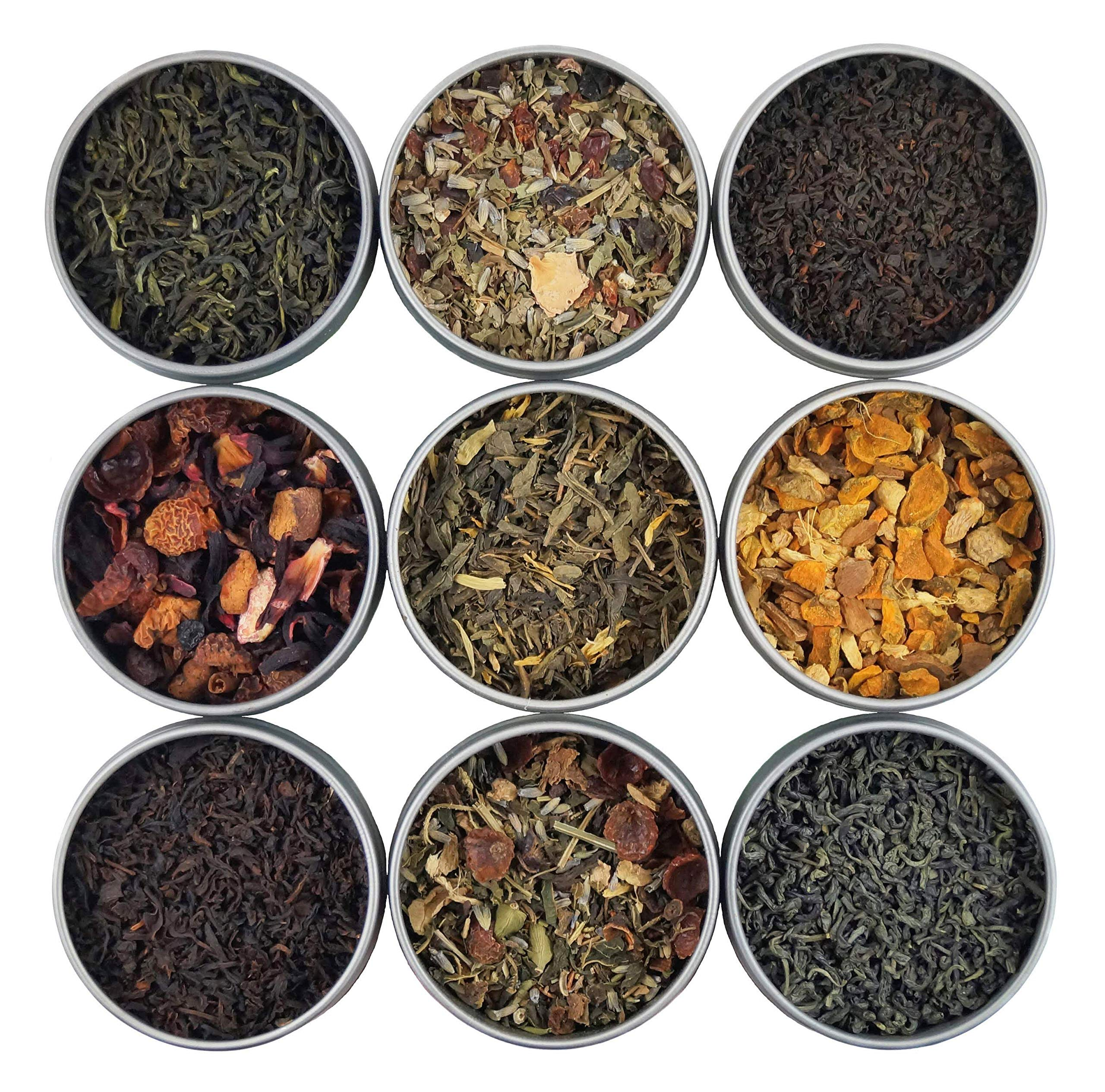 Heavenly Tea Leaves Organic Loose Leaf Tea Sampler Set, 9 Assorted Loose Leaf Teas & Tisanes