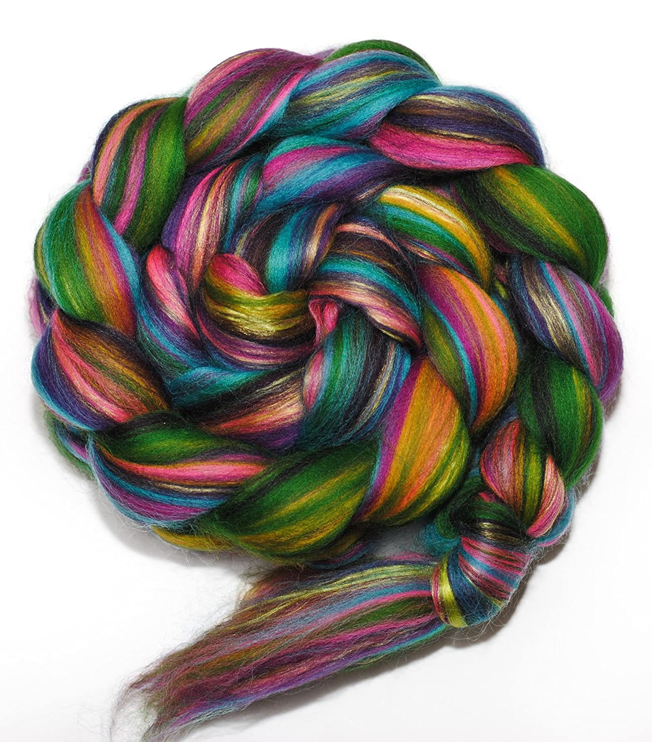 FOREST JEWELS Merino and Mulberry Silk Combed Top Wool Roving for Spinning or Felting BEESYBEE FIBERS