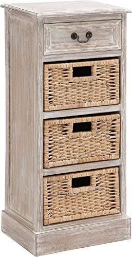 Deco 79 Wood 3-Basket Chest, 16 by 36-Inch