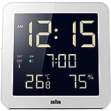 Braun BNC014WH-RC Horloge murale numérique universelle radio-pilotée, blanc