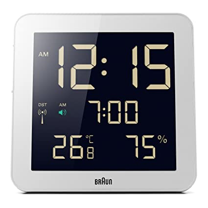 Braun BNC014WH-RC - Reloj despertador digital de pared con control por radio global,