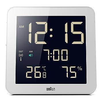Braun BNC014WH-RC - Reloj despertador digital de pared con control por radio global, color blanco: Amazon.es: Hogar
