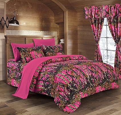 Nice Regal Comfort The Woods High Viz Pink Camouflage Queen 8pc Premium Luxury  Comforter, Sheet,