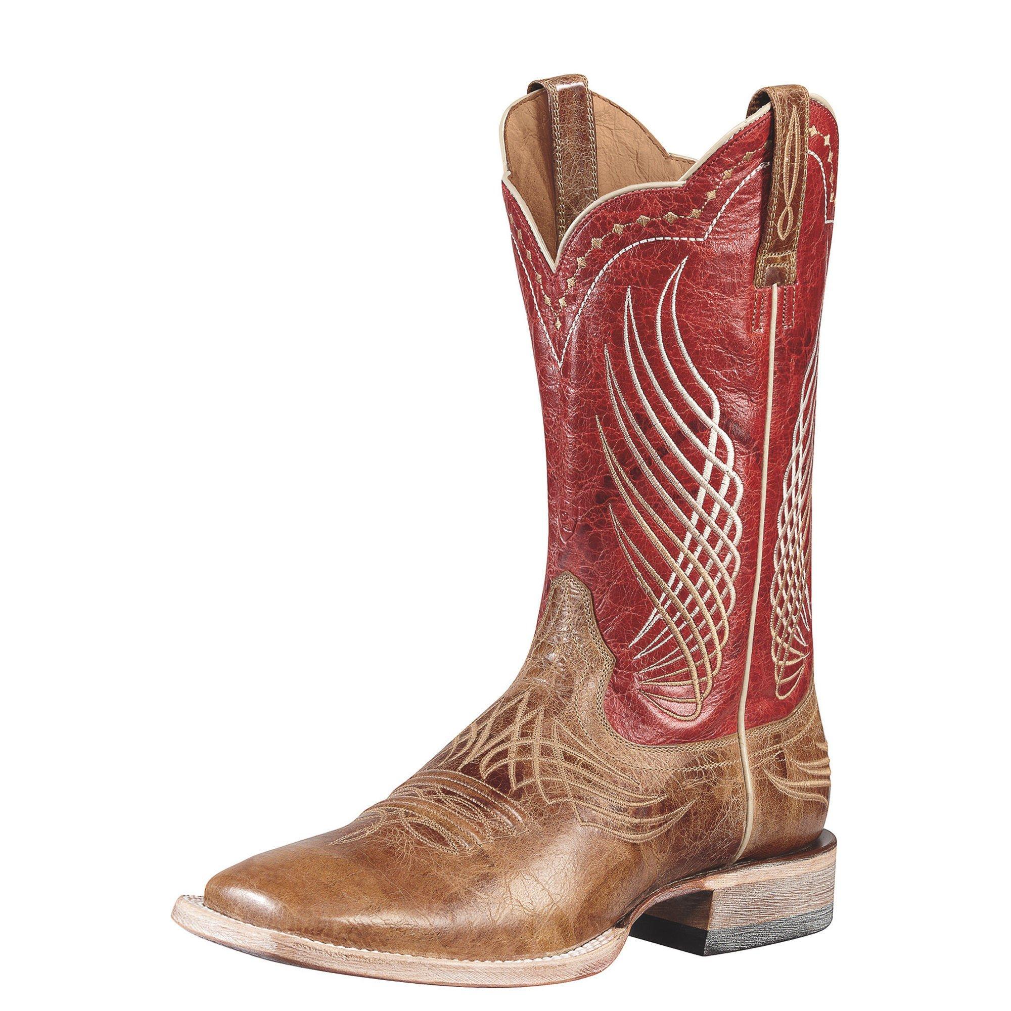 Ariat Men's Mecate Western Cowboy Boot, Wildhorse Tan/Red Fire, 12 M US