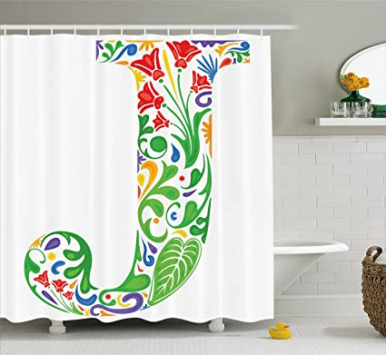 Ambesonne Letter J Shower Curtain Initial Capital With Tropical Nature Elements Leaves And Flowers
