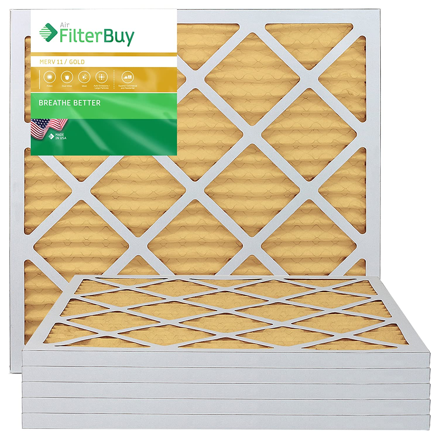 FilterBuy 20x20x1 MERV 11 Pleated AC Furnace Air Filter, (Pack of 6 Filters), 20x20x1 – Gold
