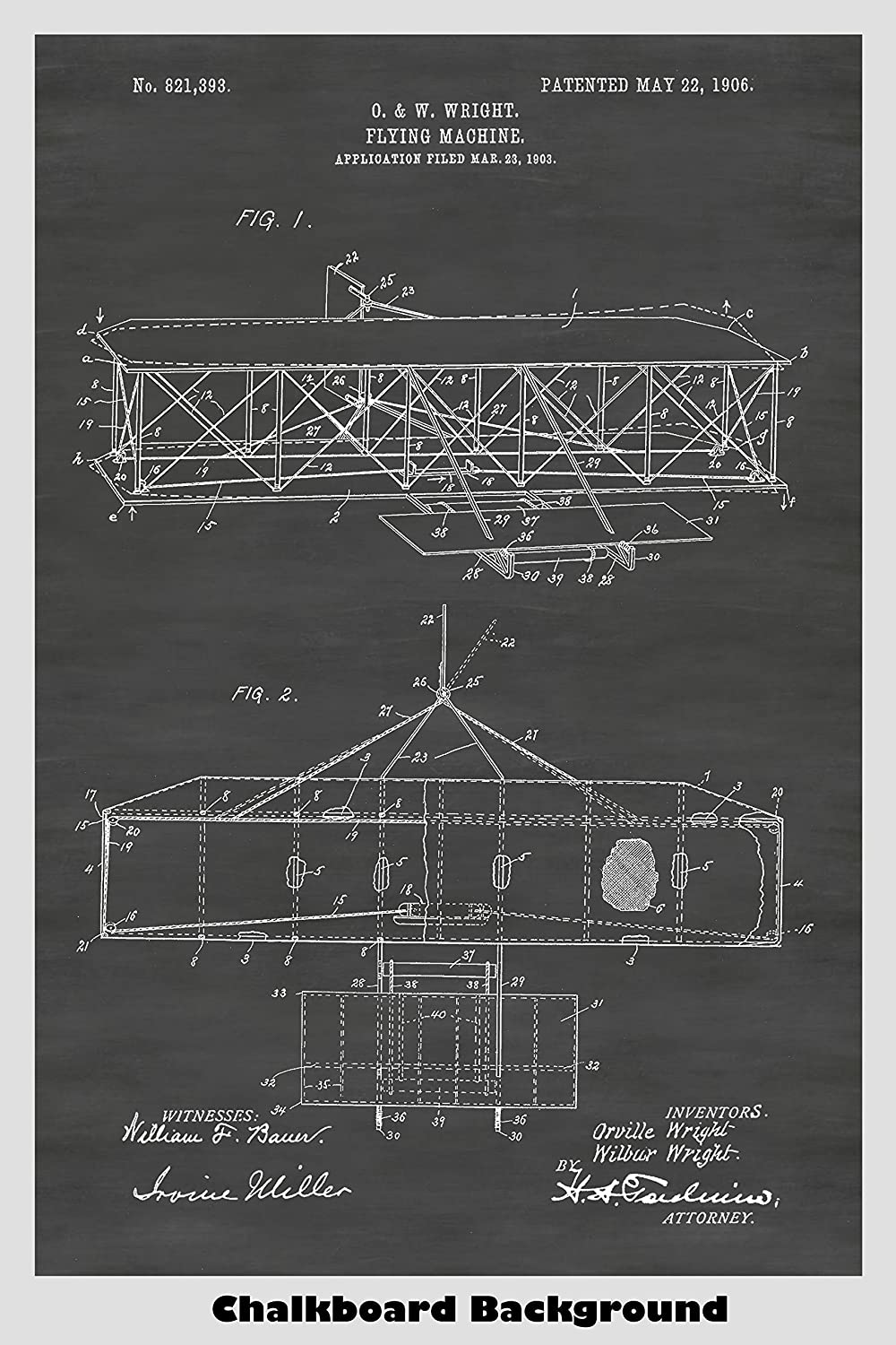 Wright Brothers Airplane Patent Print Art Poster: Choose From Multiple Size and Background Color Options