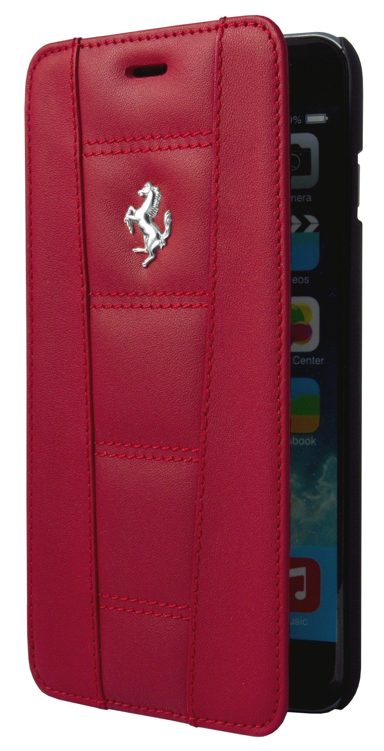 Ferrari 458 Red Real Genuine Leather Booktype Folio Case for iPhone 6 Plus