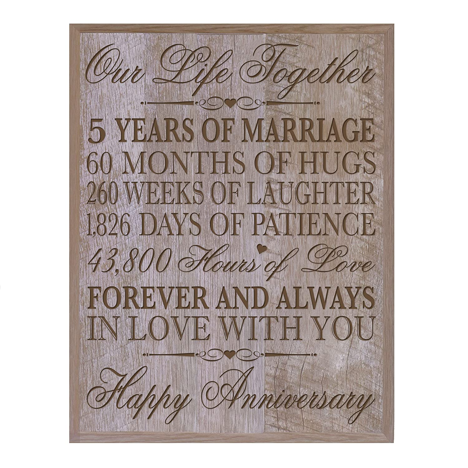 """LifeSong Milestones 5th Wedding Anniversary Wall Plaque Gifts for Couple, 5th Anniversary Gifts for Her,5th Wedding Anniversary Gifts for Him 12 W X 15"""" H Wall Plaque By Walnut 63287"""