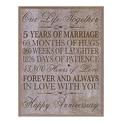 Amazon.com: LifeSong Milestones 5th Wedding Anniversary Wall Plaque ...