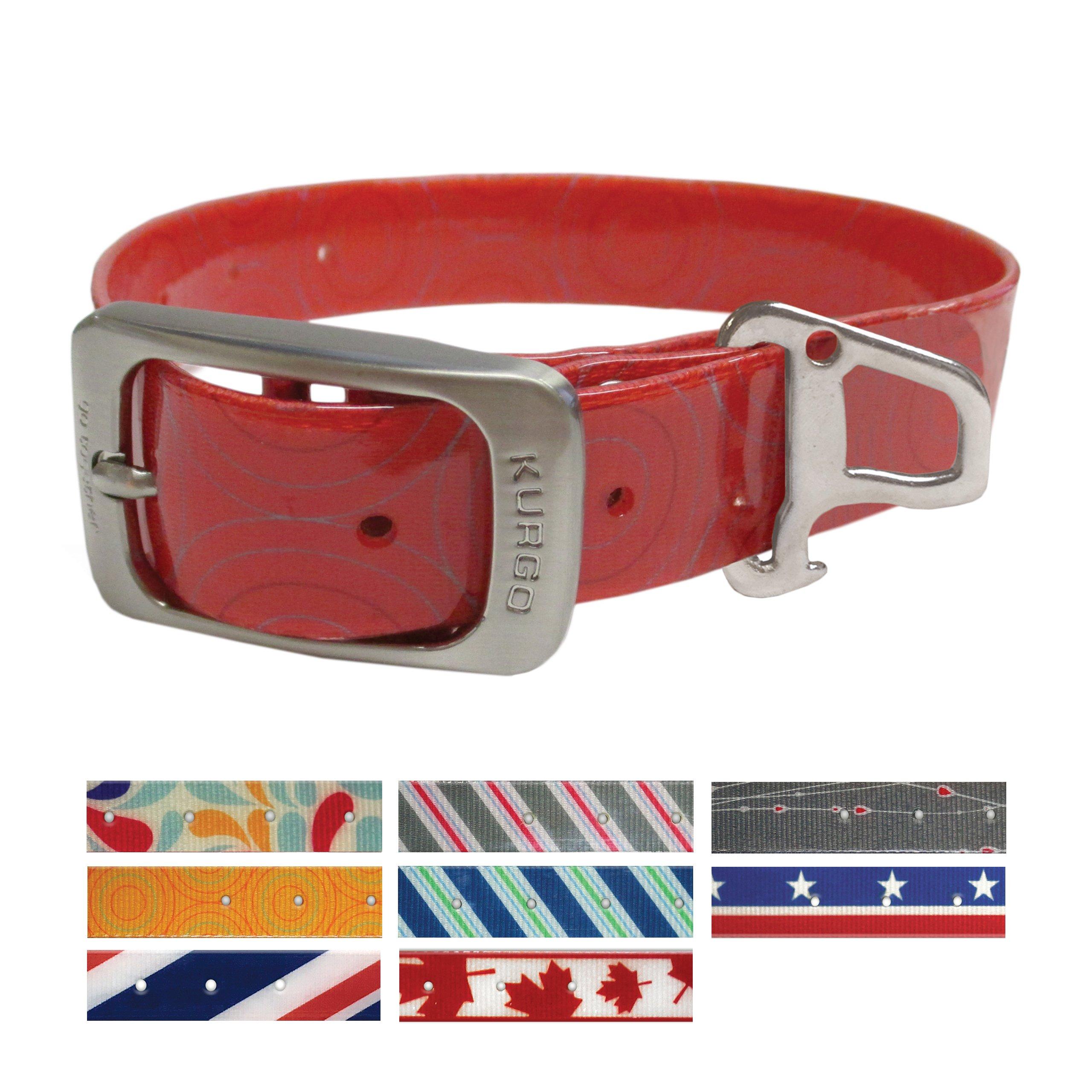 Kurgo Muck Collar Crop Circles Barn Red Collar Waterproof Dog Collar, Small