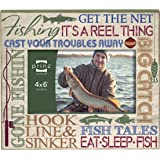 Prinz Typography Fishing Frame, 6 by 4-Inch