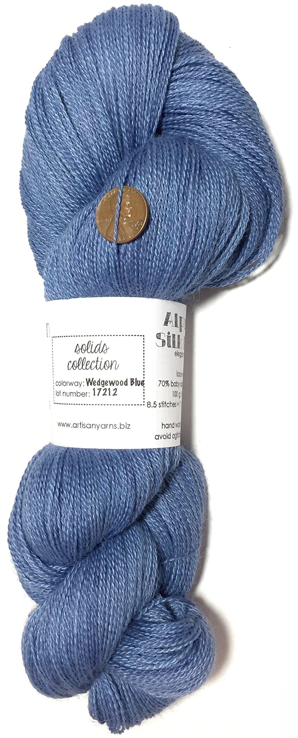 Hand Dyed Alpaca Silk Yarn, Solid Wedgewood Blue, Lace Weight, 100 Grams, 875 Yards, 70/30 Baby Alpaca/Mulberry Silk