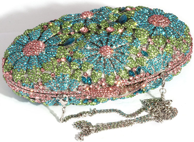 Digabi Twinkling Oval Shape Women Crystal Evening Clutch Bags