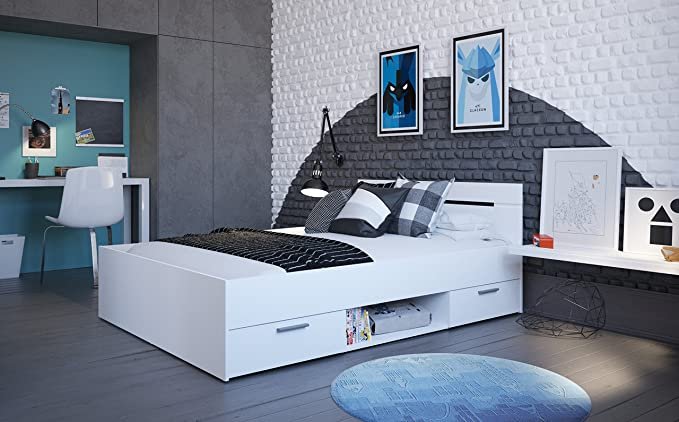 Demeyere - Cama con 2 cajones/nicho - Modelo Michigan - Fabricada en Madera aglomerada - Color Blanco Perla - Dimensiones 140 x 190 cm
