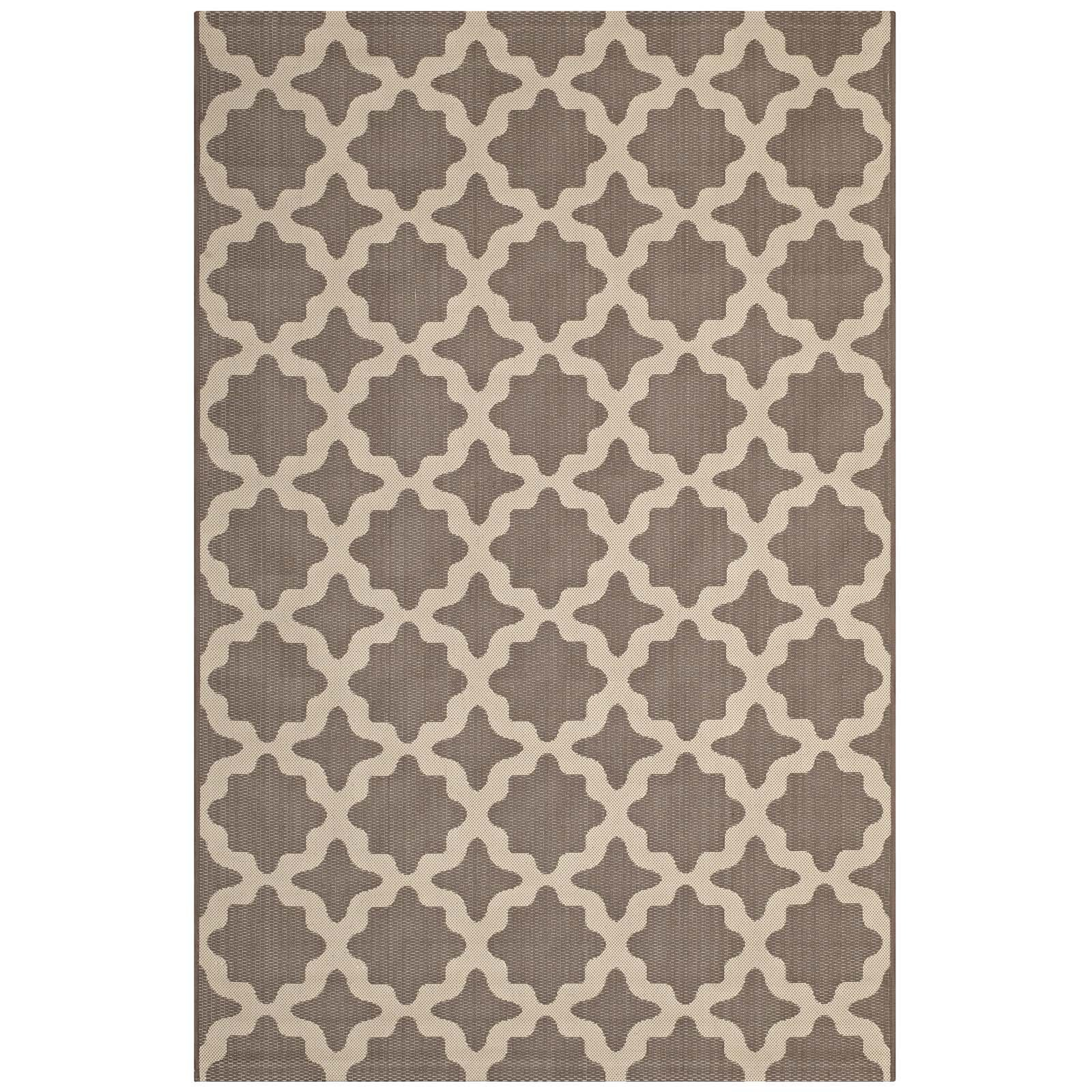 Modway R-1139A-810 Cerelia Moroccan Trellis 8x10 Indoor and Outdoor Area Rug, Twin, Beige and Light Green