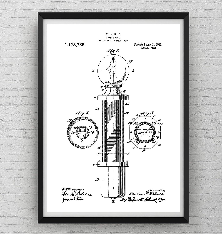 Barbiere Pole Patent Poster - Rasieren Männer Bart Schnurrbart ...