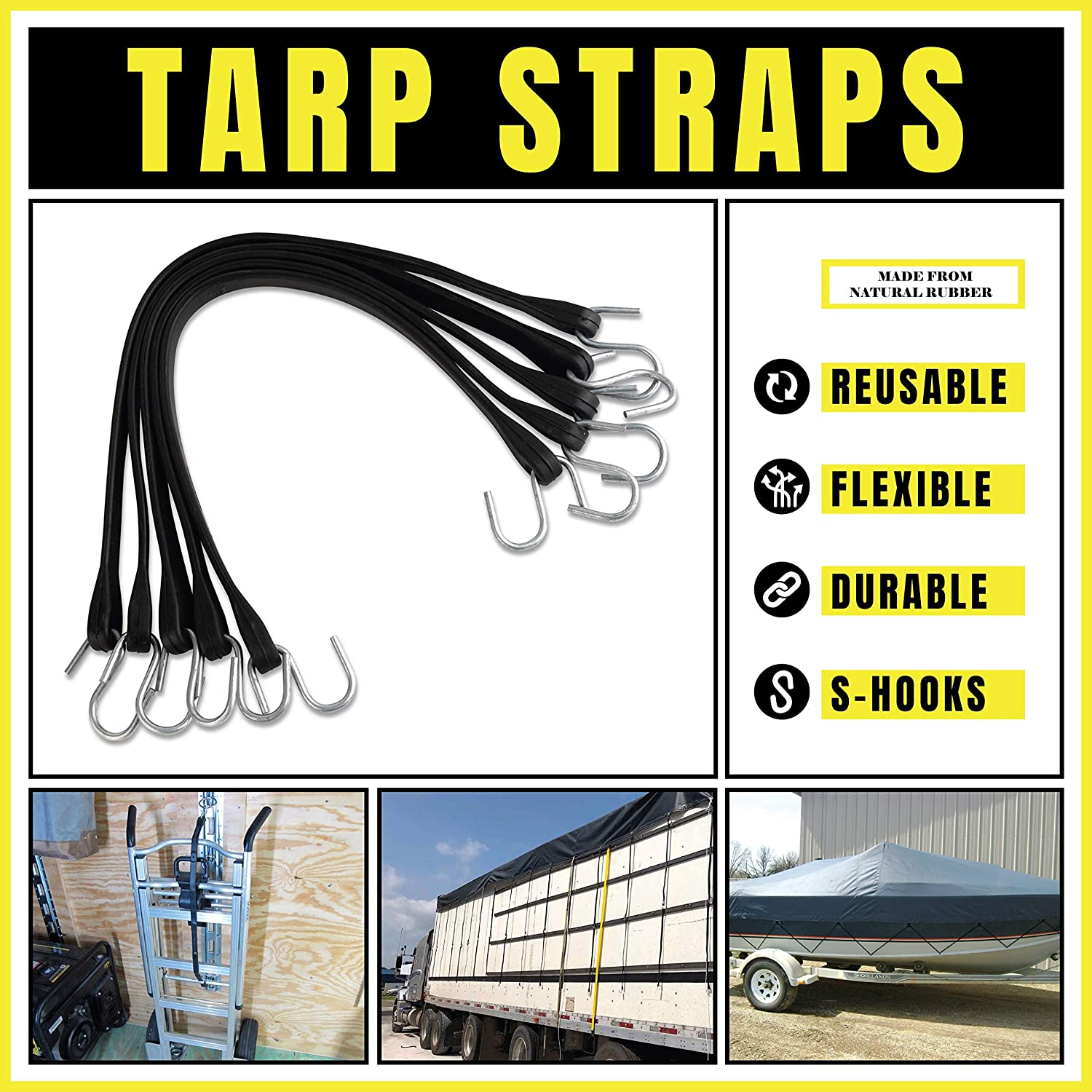 23 max Stretch 10 Pack of 15 Heavy-Duty Natural Rubber Bungee Cords with Hooks 15 kitchentoolz Rubber Tarp Straps