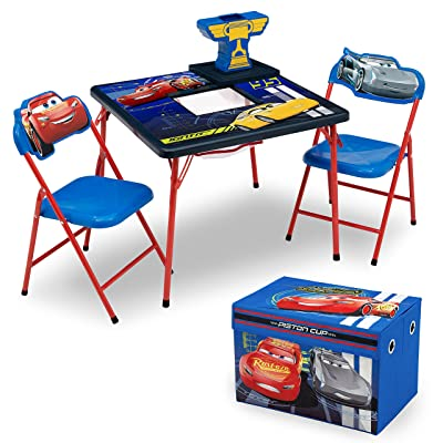 Delta Children 4-Piece Kids Furniture Set (Storage Table with 2 Chairs & Fabric Toy Box) - Ideal for Arts & Crafts, Snack Time, Homeschooling, Homework & More, Disney Pixar Cars: Baby