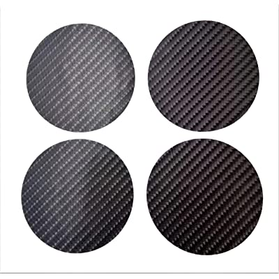 "63.5 mm 2 1/2"" Plain Kevlar Carbon Fiber Round Circle 2.5"" Inches Vinyl Wheel Cap Center Decal Decals 4 Pcs PVC Emblem Sticker Black Badge Trunk Truck Rims All Series Racing Automotive: Everything Else"