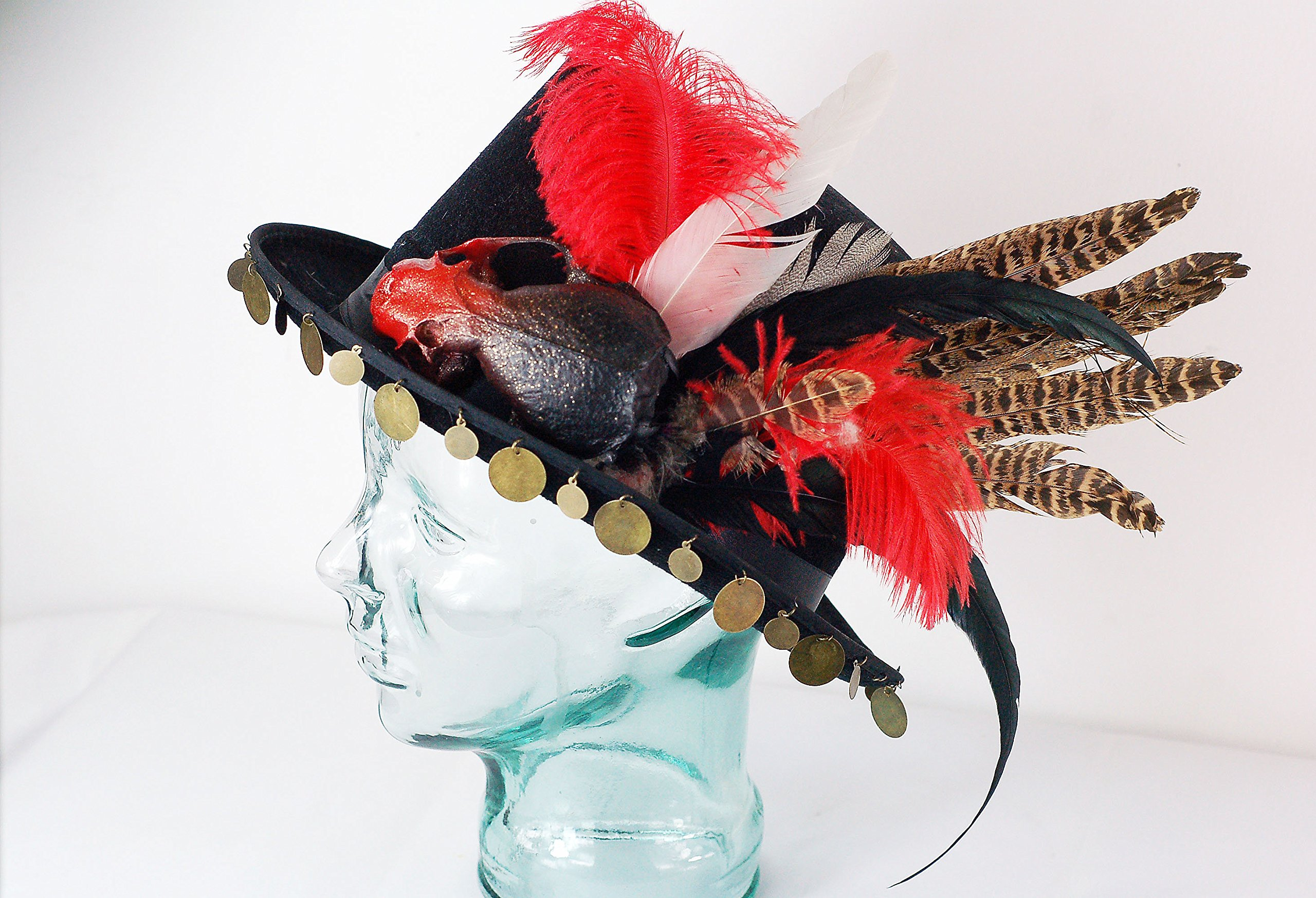 Real Bone Decoupage Hat - Black, red and gold
