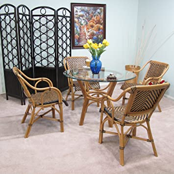 Amazon.com - Safi Rattan Dining Furniture 5PC Set [4-Chairs and 1 ...