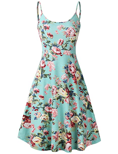 8608b09af631f FANVOOK Women's Floral Print Beach Dress Adjustable Strappy Sleeveless Summer  Swing Dress (XX-Large, Green Floral) at Amazon Women's Clothing store: