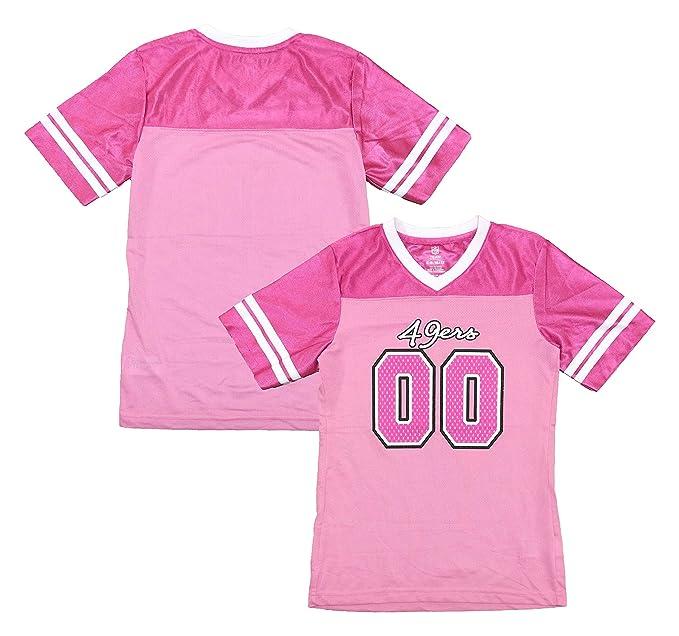 pretty nice b96a4 b6a19 Amazon.com: San Francisco 49ers Logo #00 Pink Dazzle Girls ...