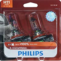 Philips H11 X-tremeVision Upgrade Headlight Bulb with up to 100% More Vision, 2 Pack