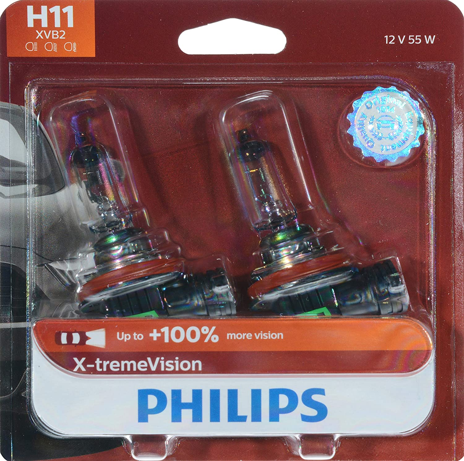 Philips H11 X-tremeVision Upgrade Headlight Bulb with up to 100% More Vision